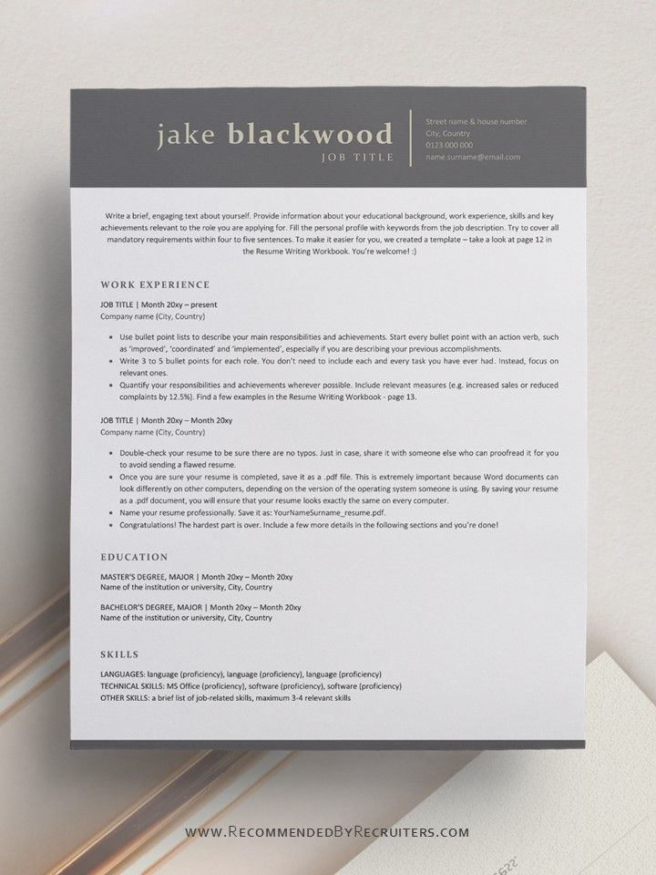 sophisticated cv design    professional and modern ats
