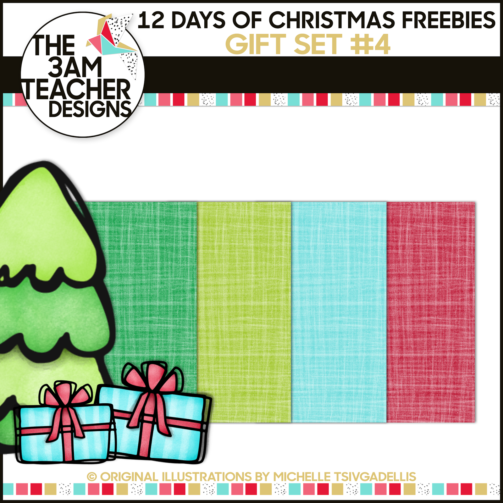 small resolution of 12 days of christmas freebies free holiday clipart day 4 gift from the 3am teacher enjoy