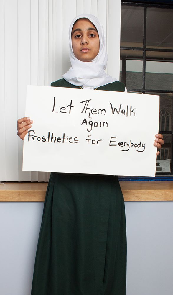 "Working with the Forum for Change, Grade 12 student Mawiyah has started the ""Prosthetics for Everybody"" project to raise awareness for people who have lost arms or legs."