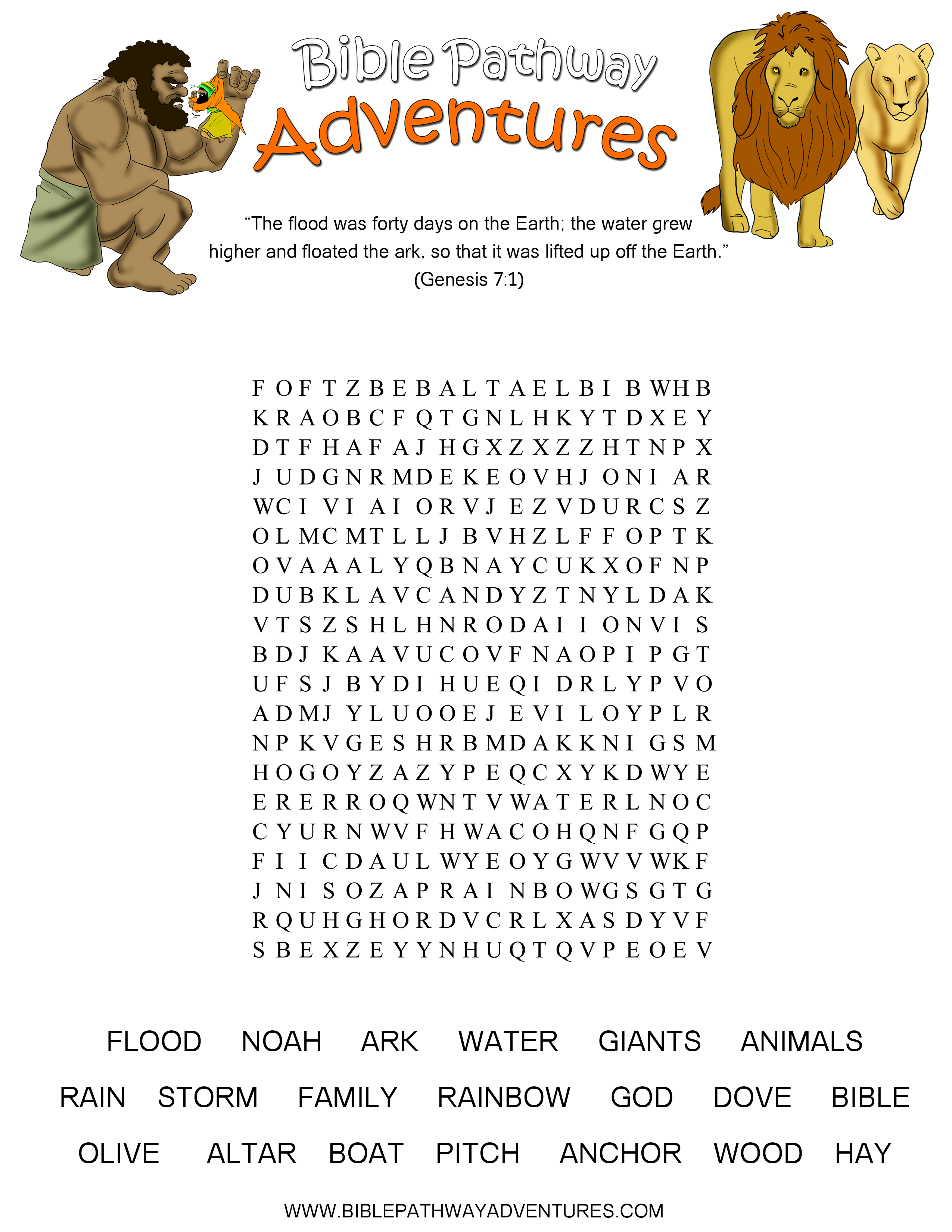 The Great Flood Word Search puzzle for kids