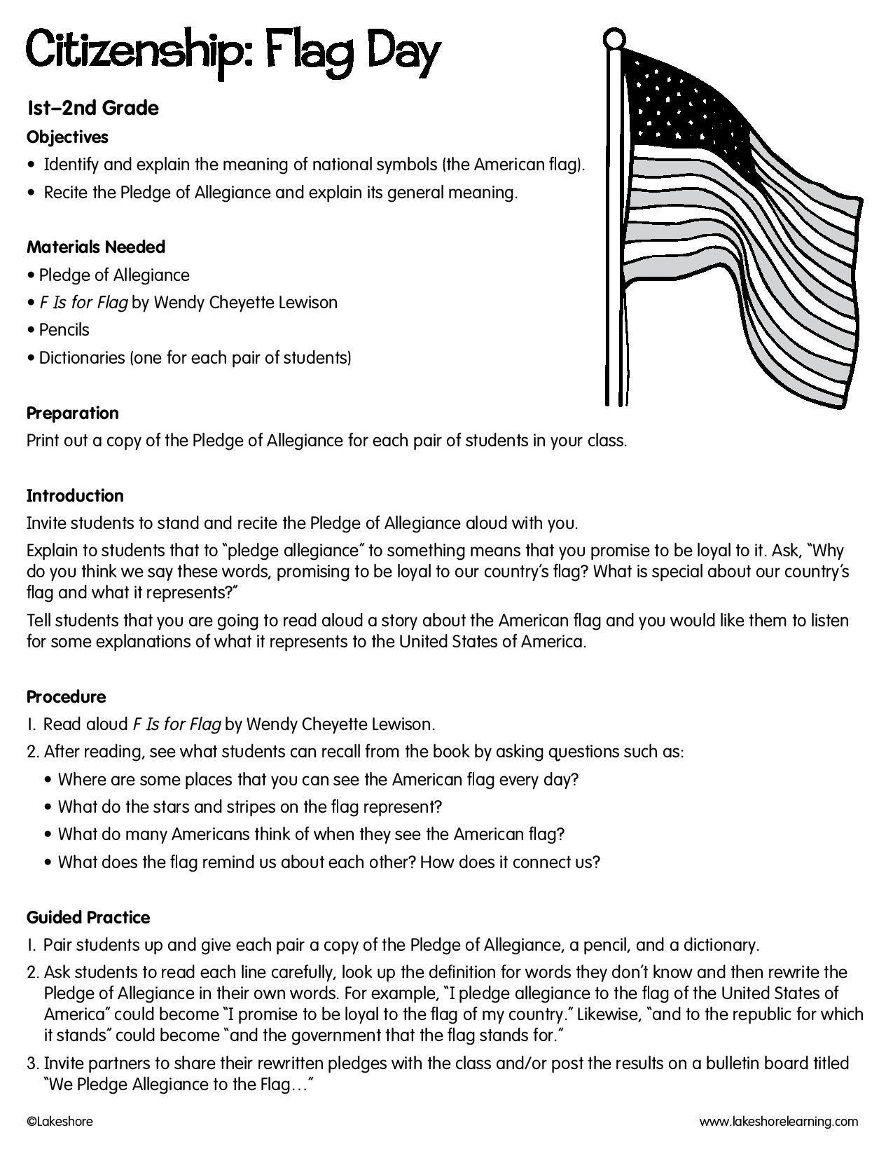Citizenship Flag Day Lessonplan