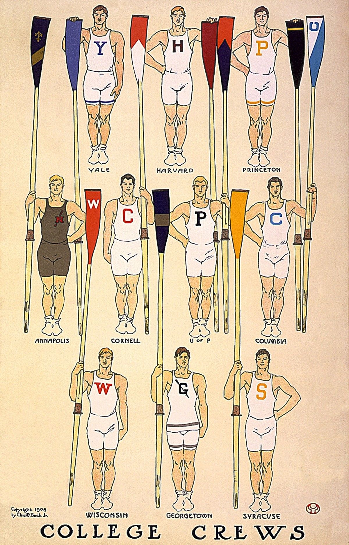Rowing Crew Yale Harvard Princeton Annapolis Cornell University Of Pennsy Rowing Crew Rowing Team Vintage Posters