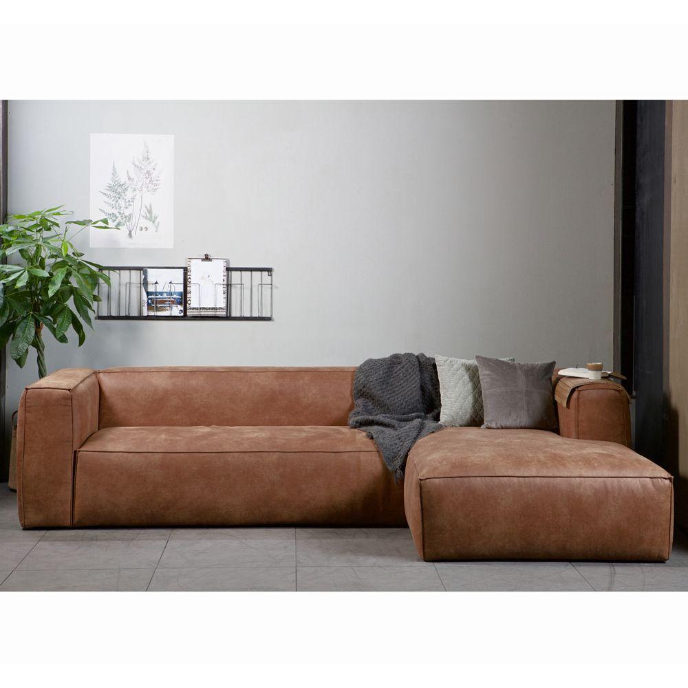 Eckgarnitur Bean Leder Cognac Couch Sofa Ecksofa Ledercouch