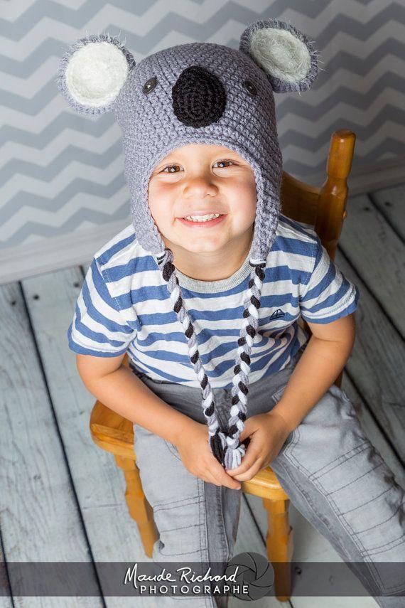 Tuque de koala en tricot, bonnet ourson koala au crochet, chapeau animal  pour bébé enfant adulte, unisexe c4242bff68a