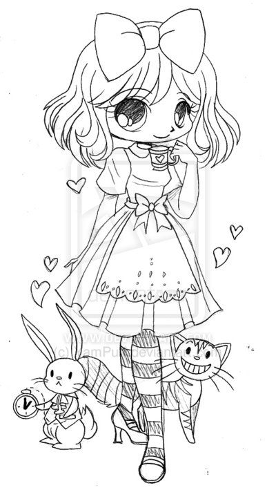 Alice in Wonderland Commission - Sketch by YamPuff.deviantart.com on ...