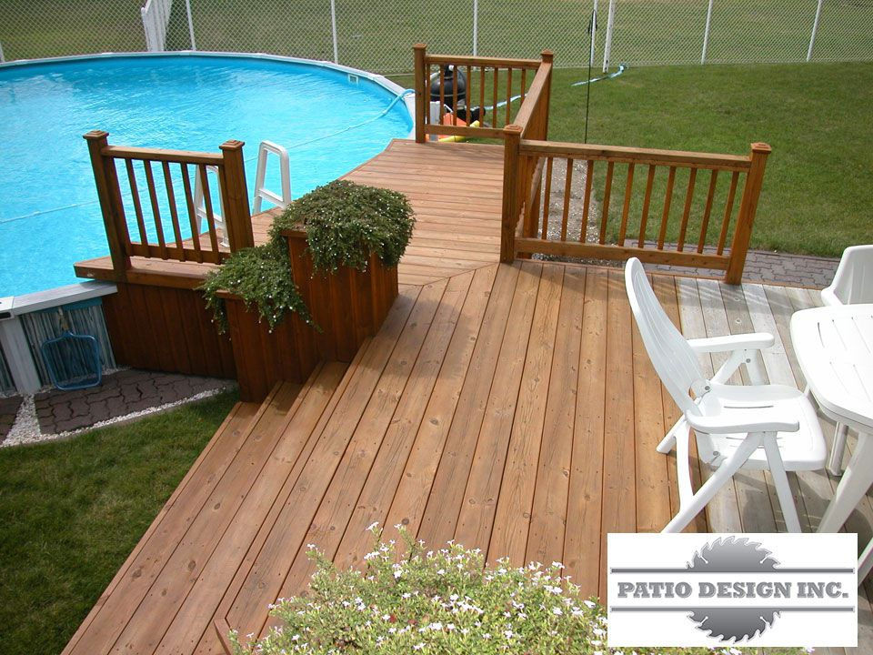 Patio avec piscine hors terre terrasse idees pinterest for Plan pour deck de piscine