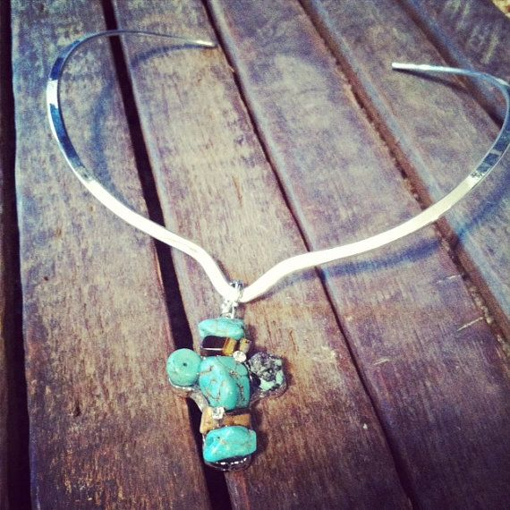 Silver Choker with Turquoise and brown turquoise by RainingRustic, $20.00