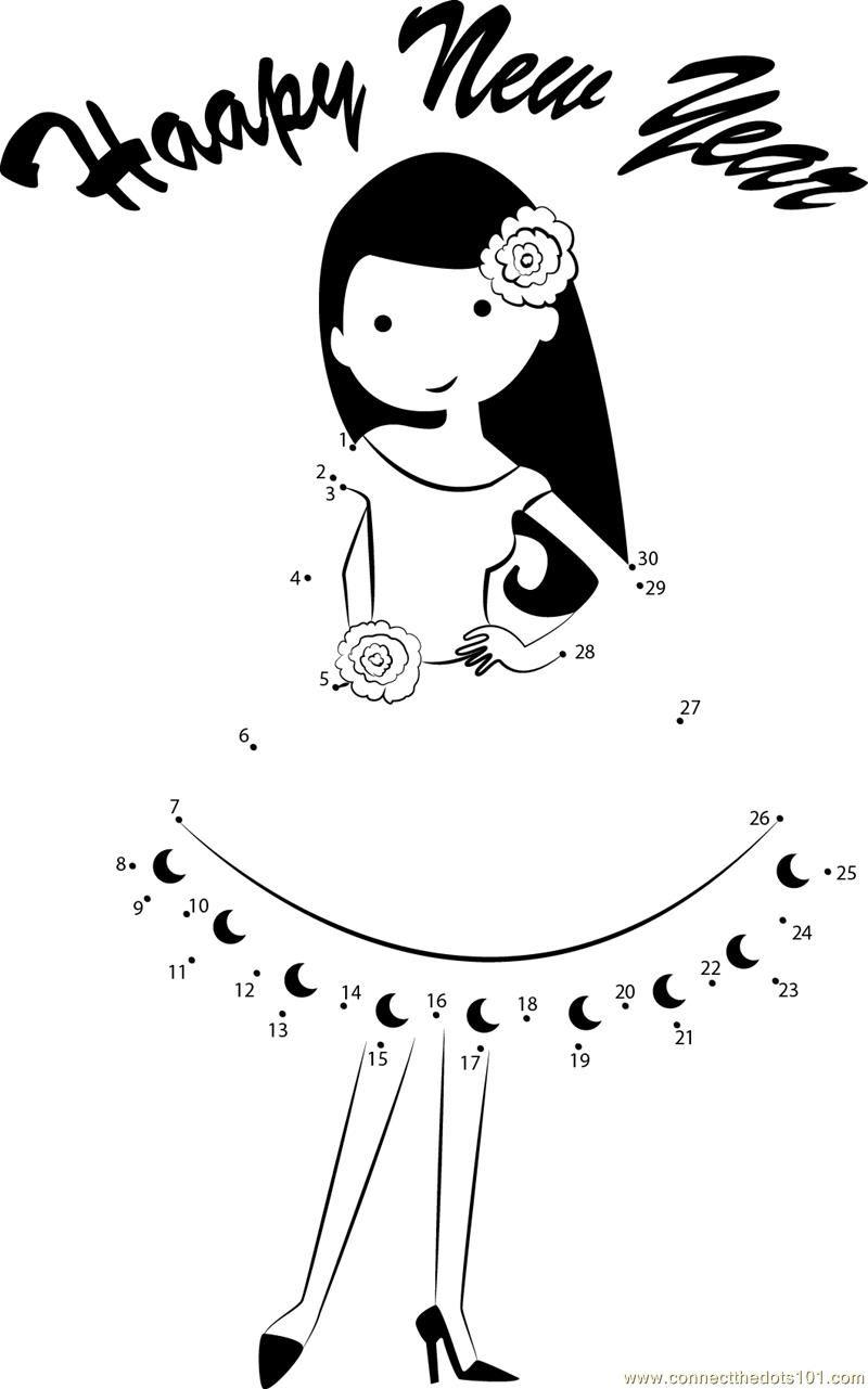 Girl wishing Happy New Year dot to dot Printable Worksheet ...