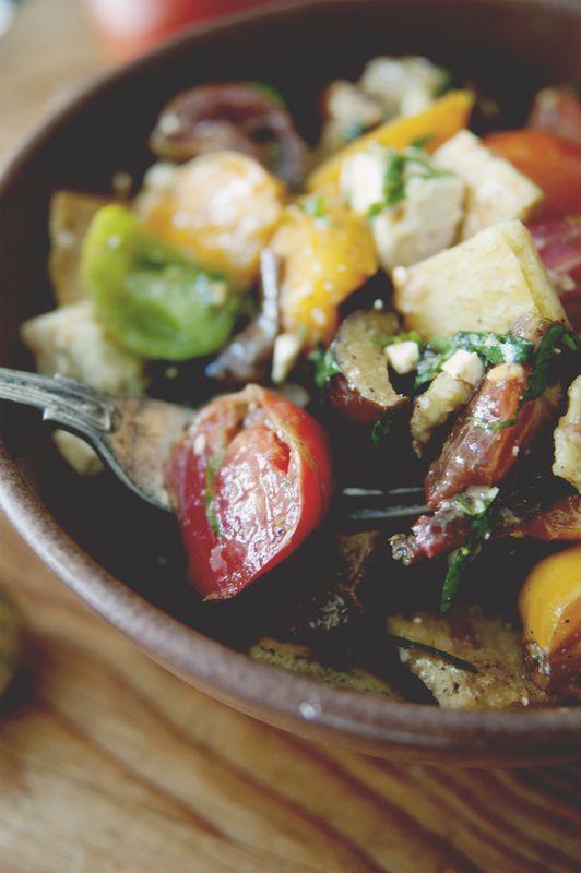 Heirloom Tomato Roasted Eggplant Salad with Feta and Crispy Pita