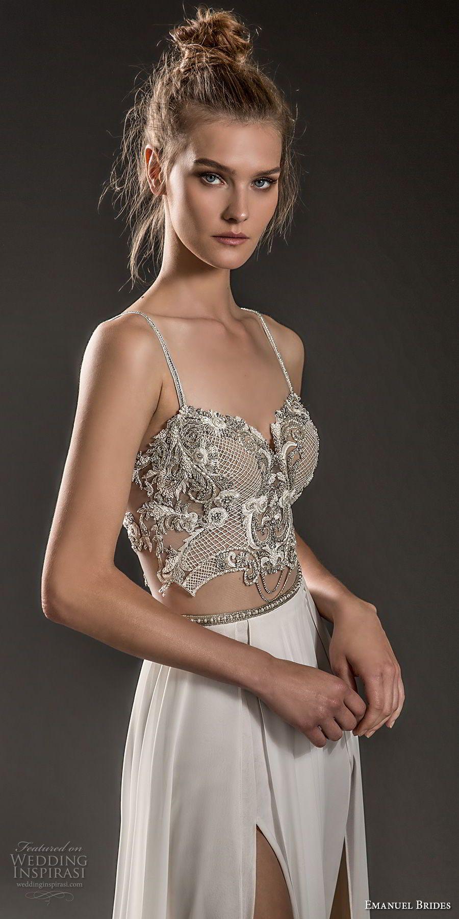 Emanuel brides wedding dresses bodice neckline and wedding dress