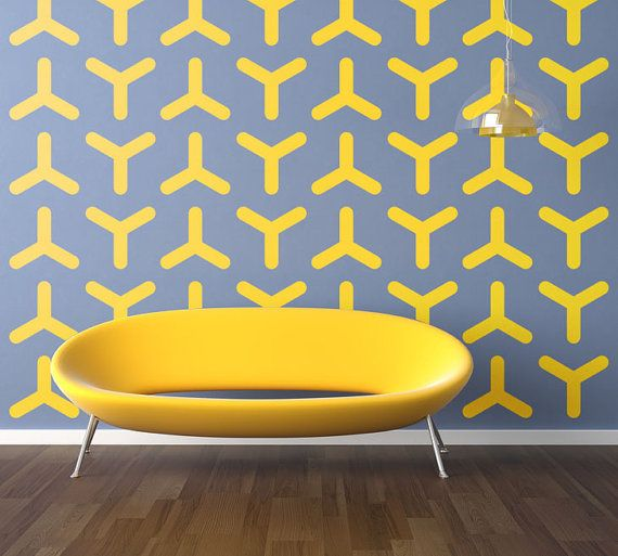 Geometric Wall Decal, Modern Wall Decal, Retro Dorm Decor, Retro ...
