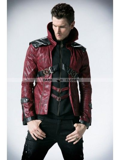 451a05e532f4f Punk Rave Black and Red Leather Vampire Style Gothic Jacket for Men ...