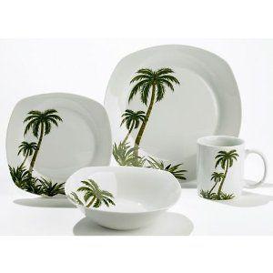 Florida Marketplace 16pc  Palm Tree Dinnerware | Tropical