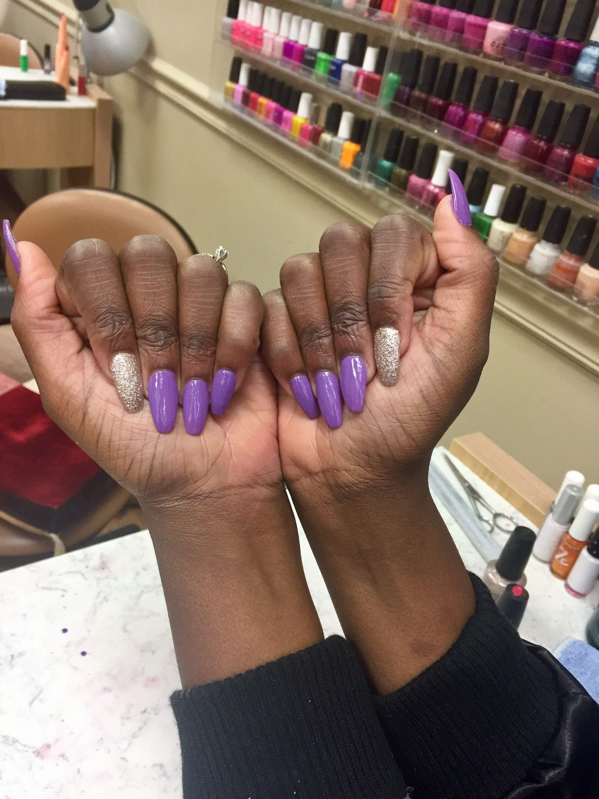 Purple Coffin Nails Sparkle Nails Medium Length Nails Acrylic Nails Sparkle Nails Acrylic Nails Coffin Short Acrylic Nails Yellow