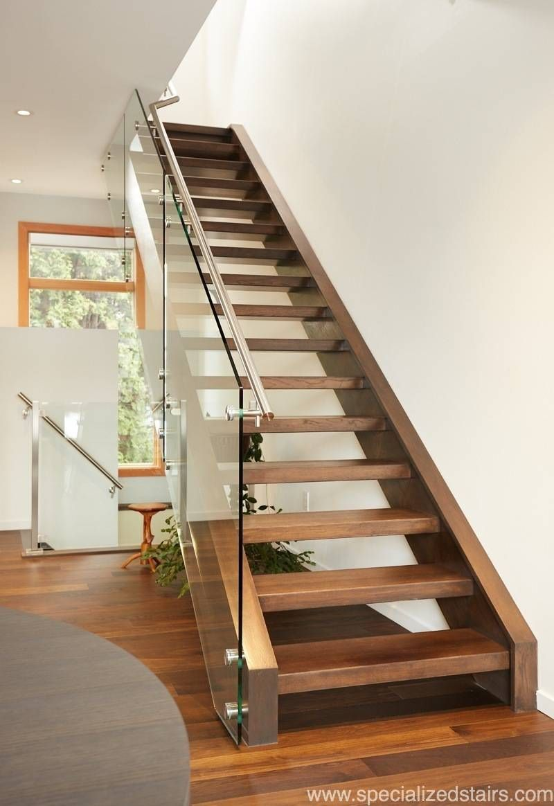 Specialized stair and rail modern staircase custom stairs custom railing open rise stairs glass panel railing wood stairs