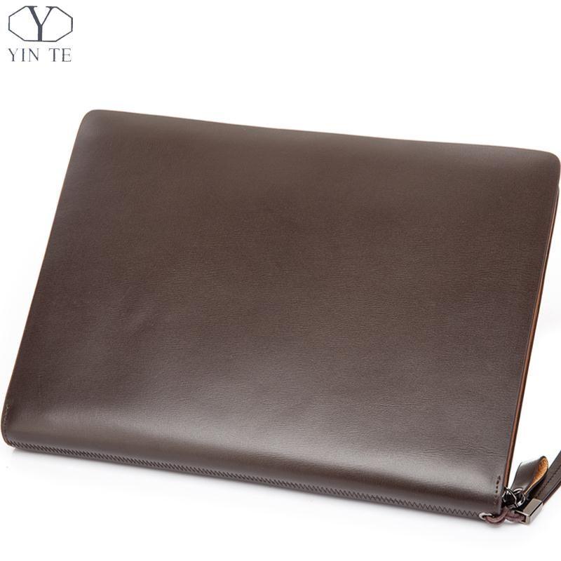 2379cc4ad76bc YINTE Men's Leather File Folder Bag A4 Paper Leather File Document Clutch  Wallets Business Zipple Men's Bag Portfolio T5480A -- AliExpress  Affiliate's ...