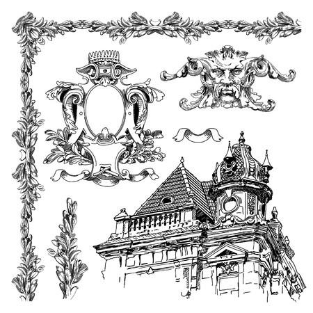 hand draw vintage sketch ornamental design element of Lviv