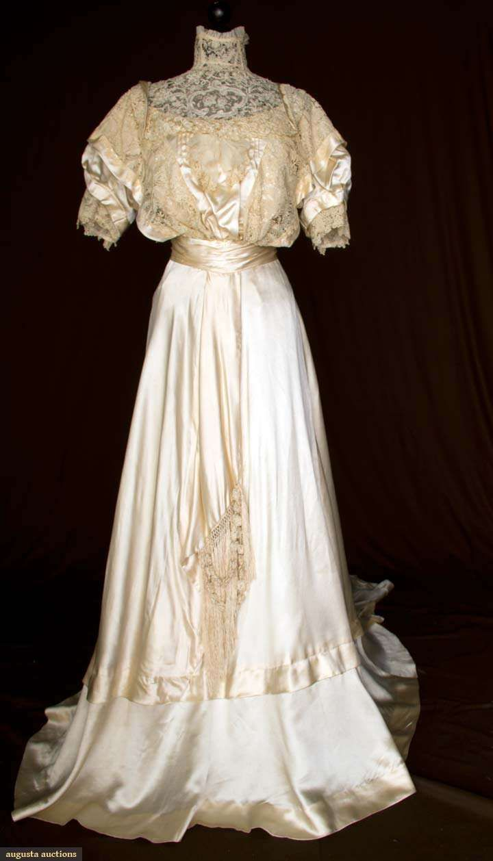 Silk satin and lace wedding gown c augusta auctions