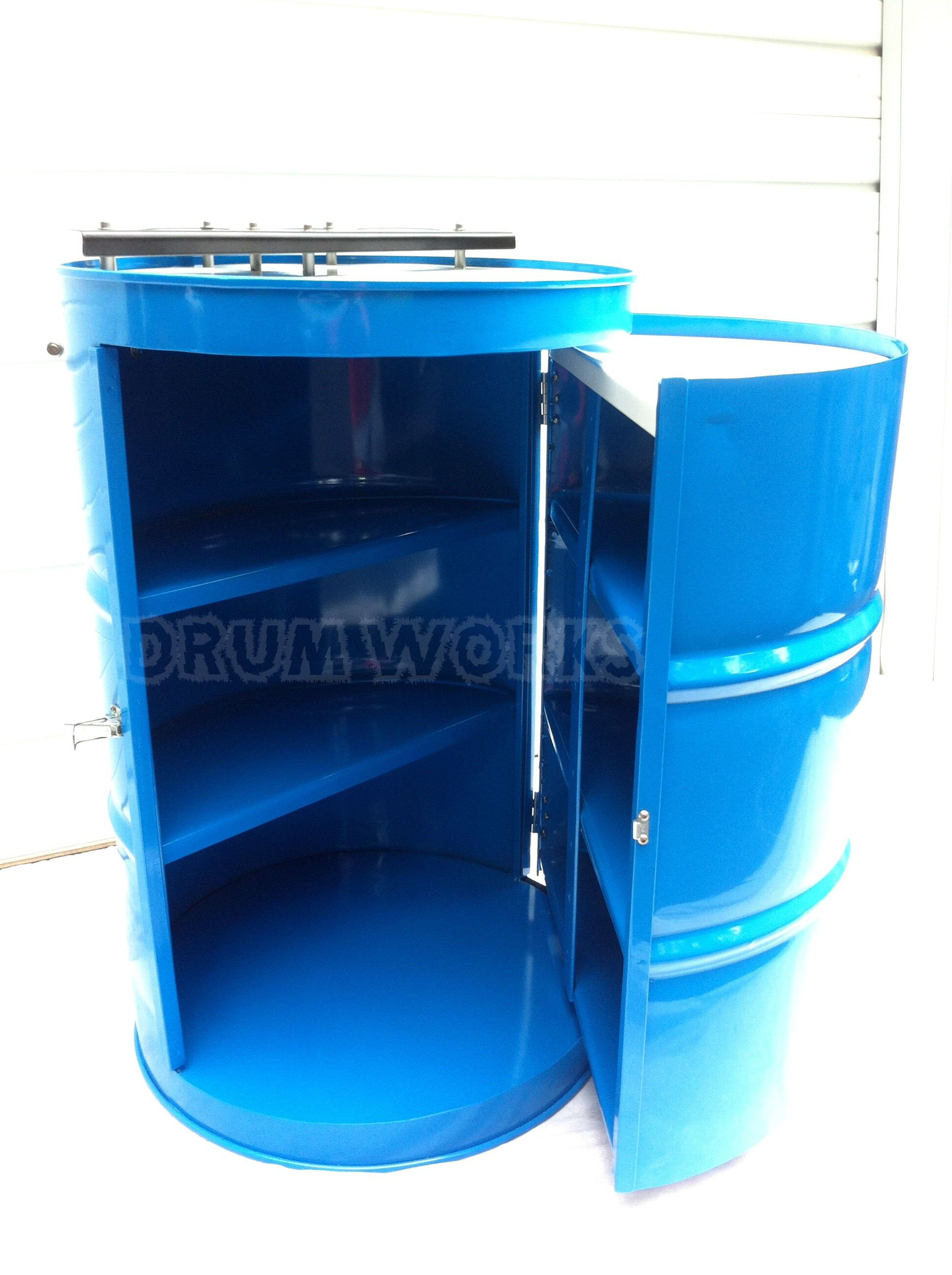 Recycled 55 Gallon Steel Drum Made Into Portable Bar Powder Coated In Panther Colors Of Teal With White Black And Si 55 Gallon Steel Drum Oil Drum Steel Drum