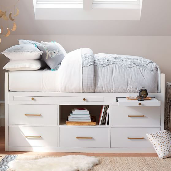 deb36049fe5 ☆  898.60 Buy the Hampton Collection White bookcase captains trundle bed in Full  Size at Ekidsrooms.com ☆ Good Trading full size Trun…