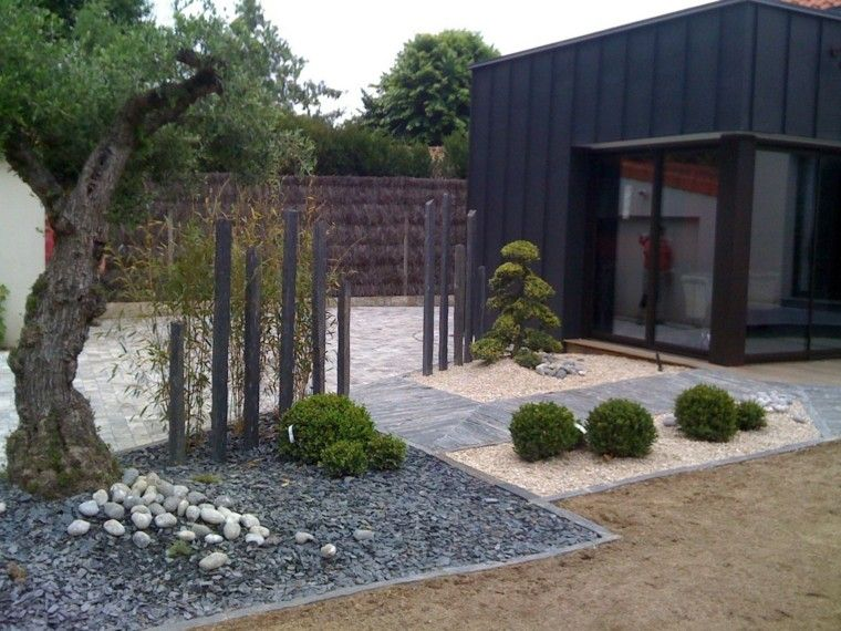 Jardin con piedras estilo zen jardines pinterest for Patios con piedras