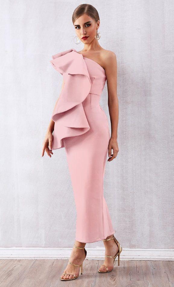 Pink One Shoulder Maxi Dress Formal Dress 3
