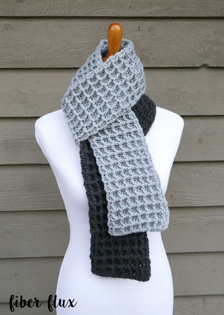 Fiber Flux Free Crochet Patterno Tone Waffle Stitch Scarf