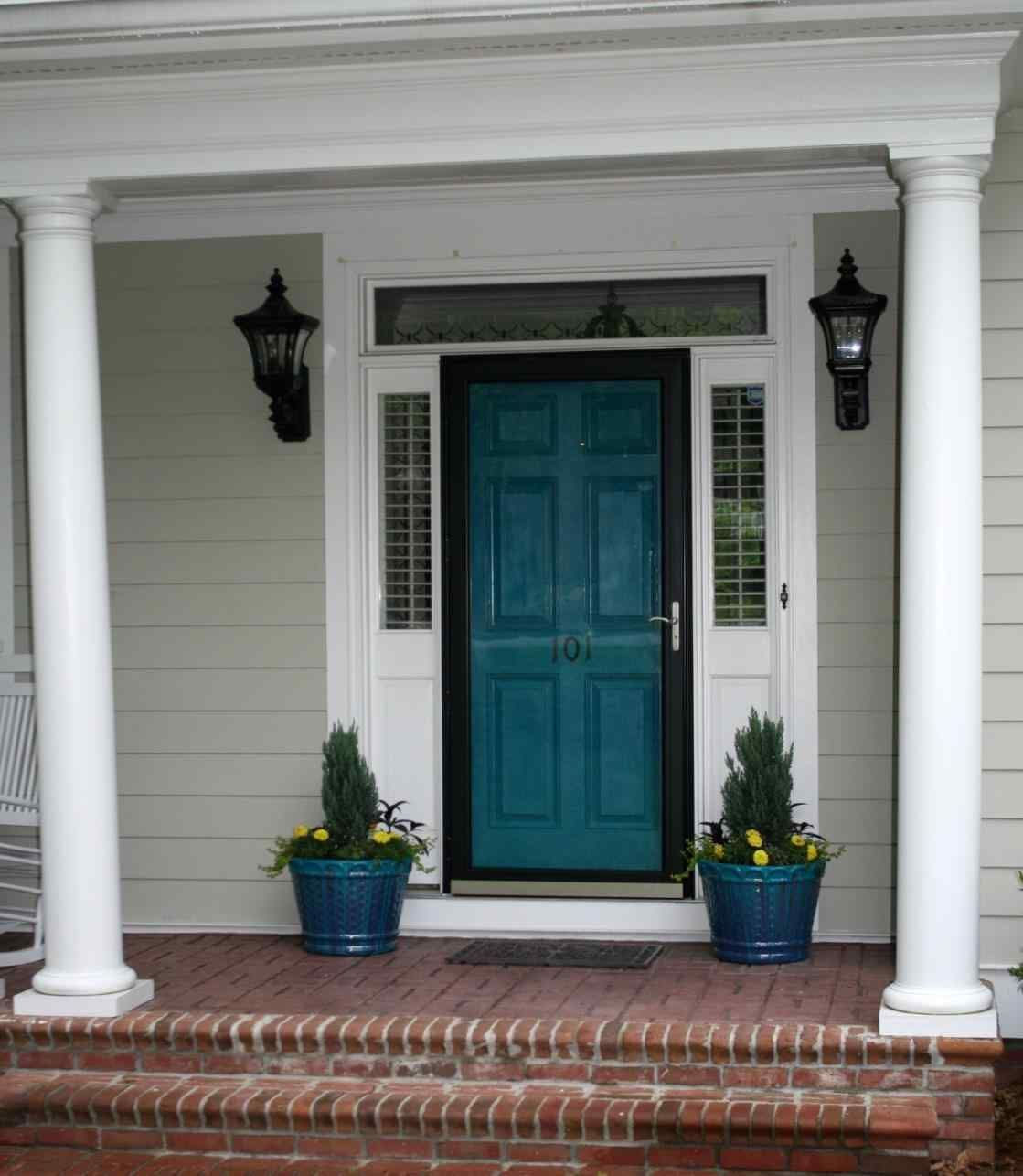 Teal Shutters: Shutter Colors For Tan Brick House Siding Color