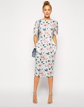 ad2b9569def631 Enlarge ASOS PETITE Wiggle Dress in Pastel Floral Print