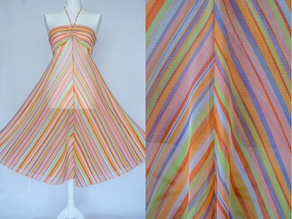 Vintage 70s style colorful diagonal stripes sheer sundress // Halter summer circle dress // size small // like from new Valentino collection