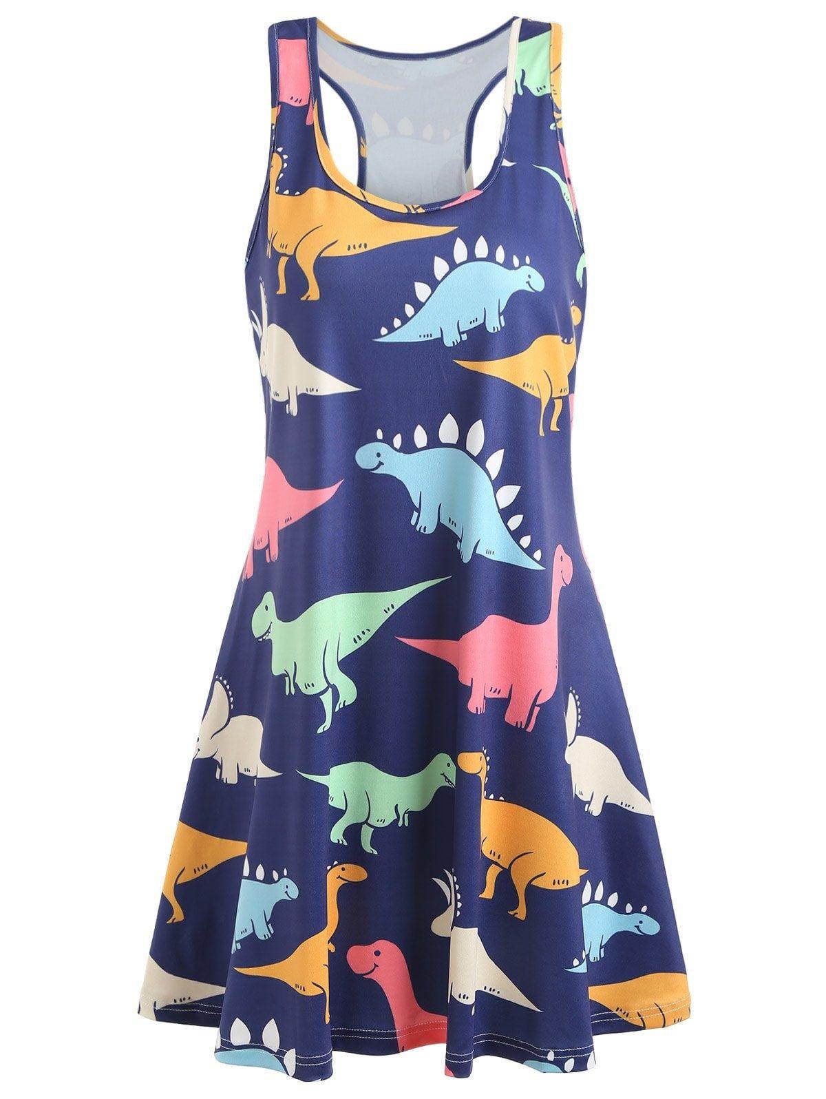 Dinosaur Swing Tank Dress Racerback Tank Dress Cheap Dresses Casual Casual Dresses [ 1596 x 1200 Pixel ]