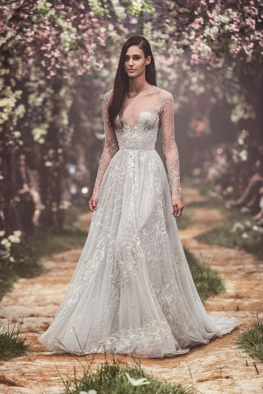 White Fairytale Paolo Sebastian Wedding Gown With Low Cut Neckline Illusion Long Sleeves And Sparkly Skirt Once Upon A Dream