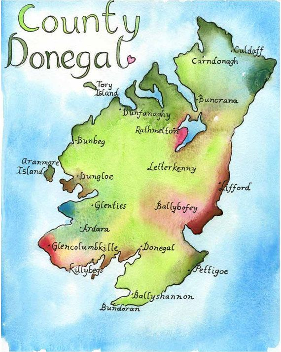 Print Map Of Ireland.Map Art Ireland Map County Donegal Ireland Fine Art Watercolor