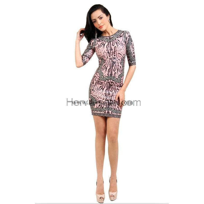Herve Leger Coffee Printed Half-Sleeve Round-neck Bandage Dress HL518C