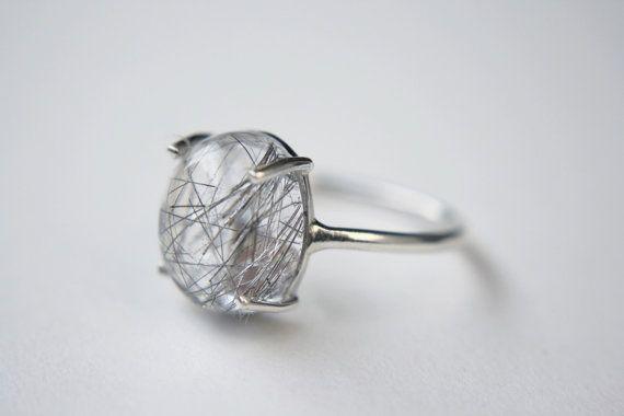 big stone ring big quartz ring boho stone ring Tourmilated quartz ring Quartz stone ring