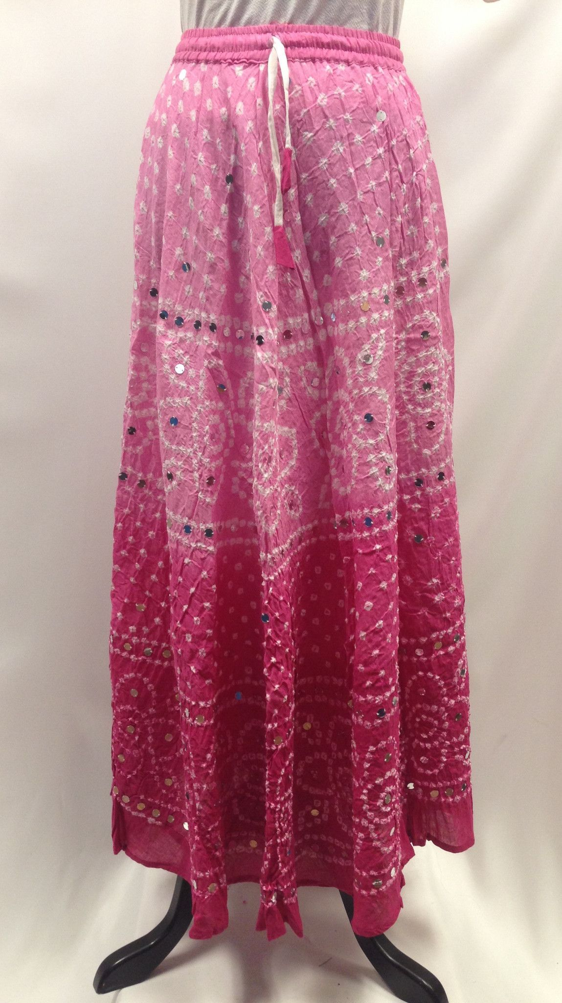 492f66b02 Bandhani Tie-Dye Skirt from Jaipur with Large Sequins- Baby-Pink ...