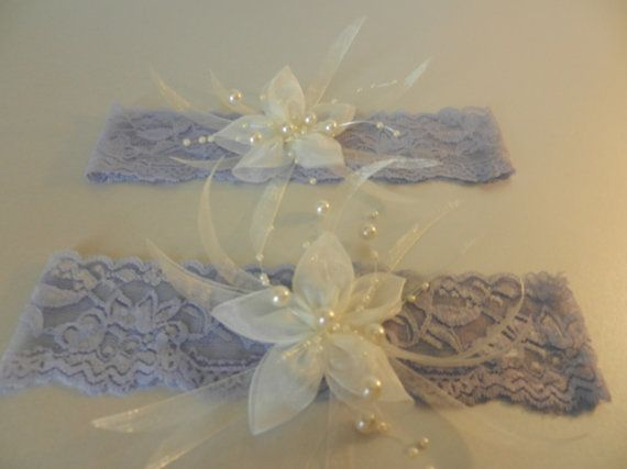 Wedding Garter, Bridal Garter, Lace Garters, Blue garter set, dangle pearls, ivory silk flower - HANDMADE on Etsy, £22.23