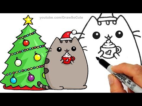 How To Draw Christmas Holiday Pusheen Cat Step By Step