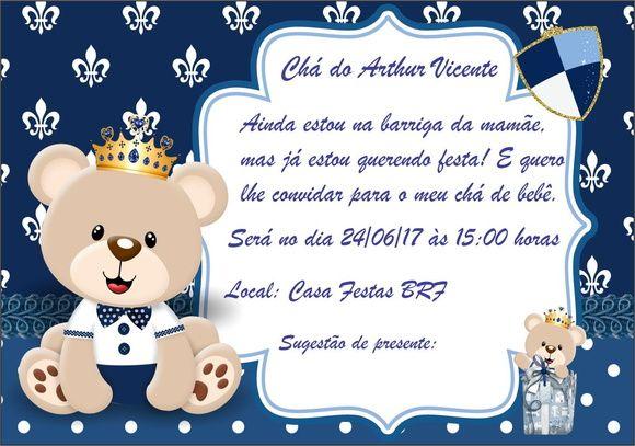 Convite Ursinho Príncipe Azul Marinho Festa Pronta Pinterest