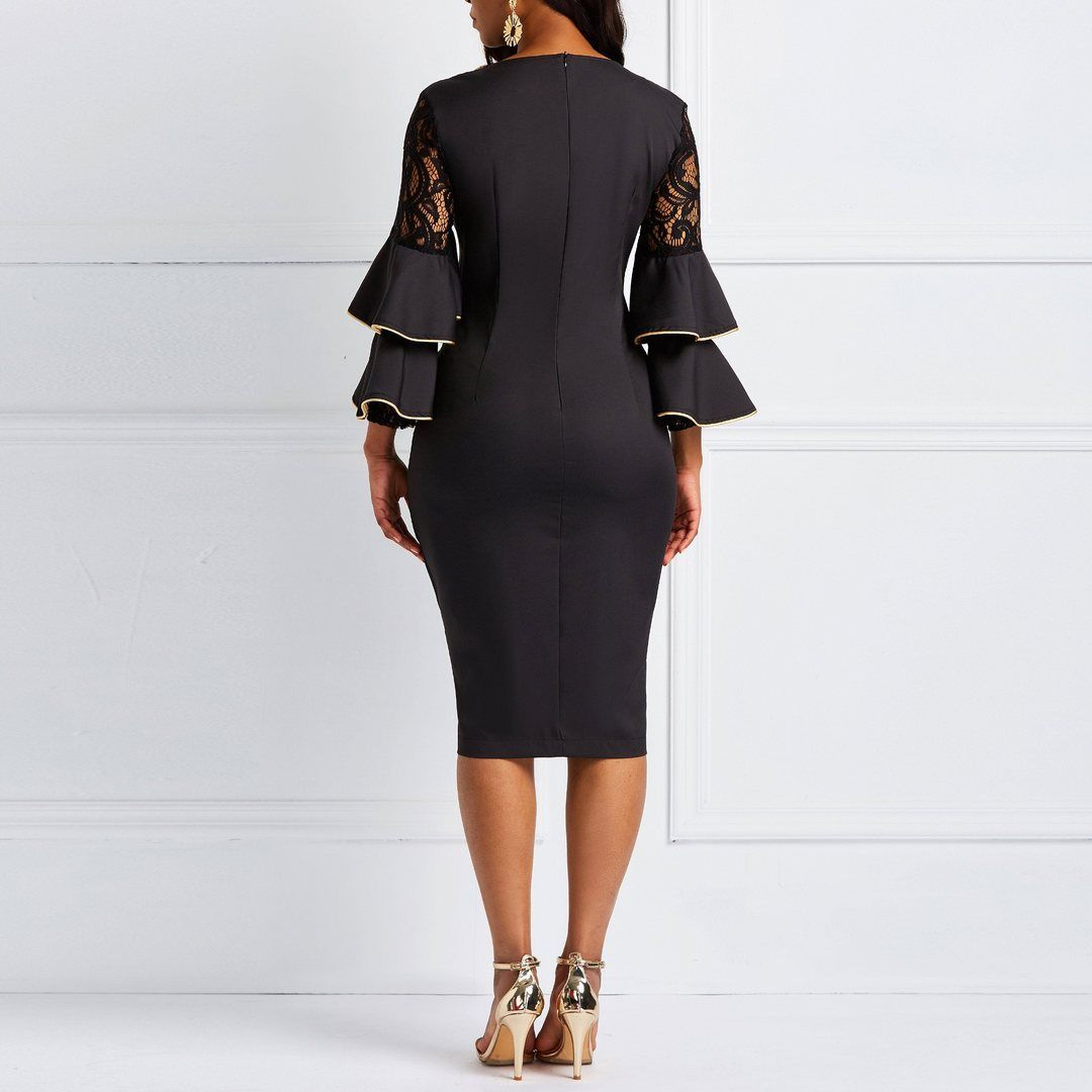 Lace Flare Sleeve Dress Color Black Sizes M L Xl 2xl Flare Sleeve Dress Long Sleeve Lace Black Midi Dress Bodycon [ 1080 x 1080 Pixel ]