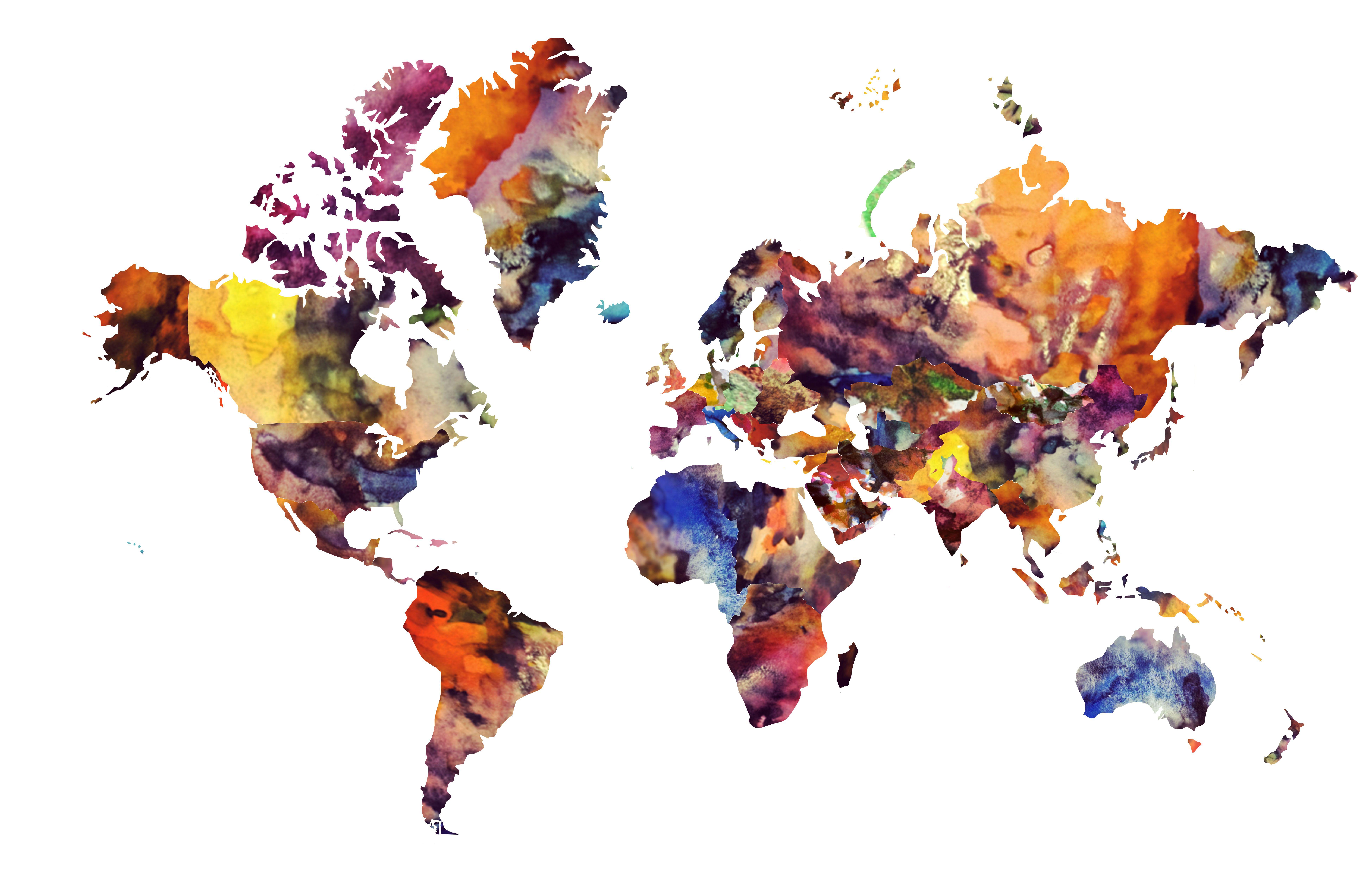Watercolor World Map Watercolor World Map Wallpaper CIM Logo - United states watercolor map