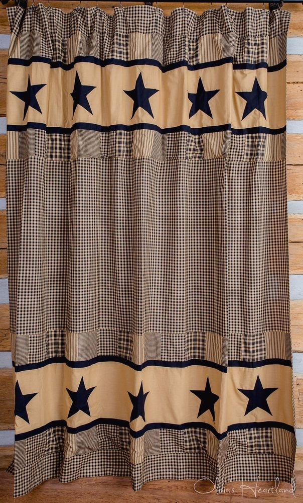 Black Plaid Shower Curtain Olivias Heartland Country Bath Decor Cotton  #OliviasHeartland #RusticPrimitive