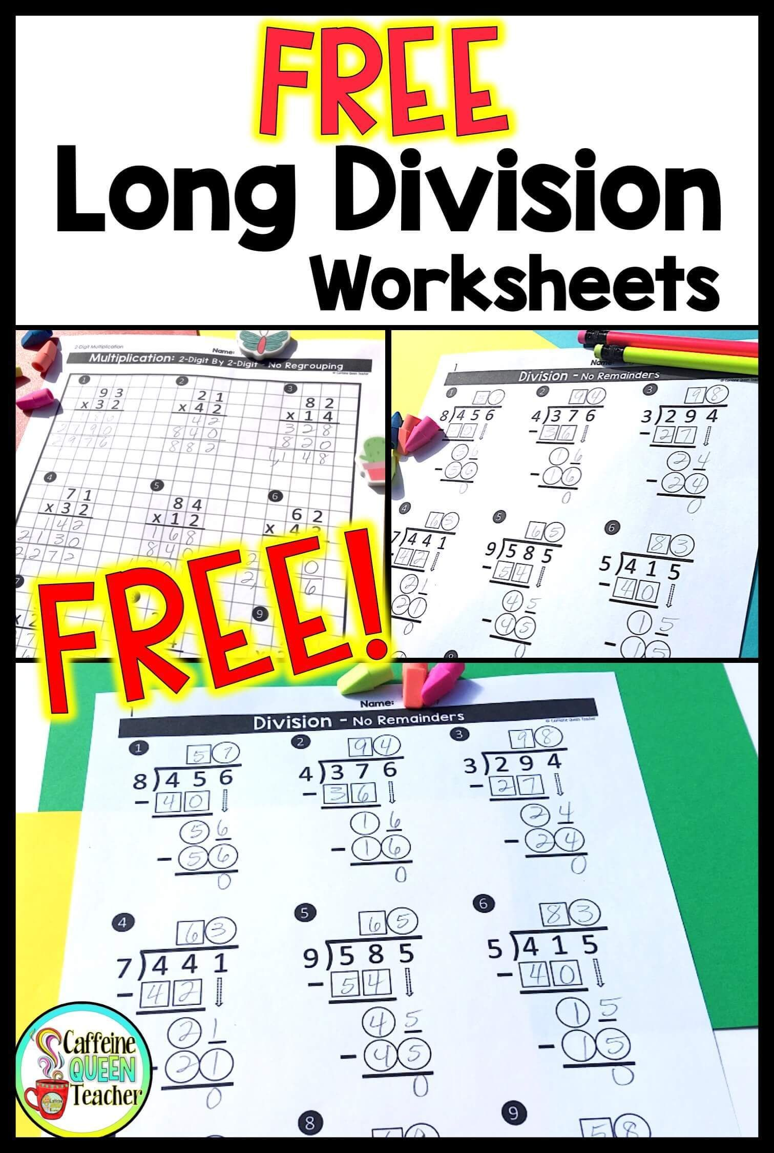 Differentiated Long Division Worksheets For Free Caffeine Queen Teacher Math Division Long Division Worksheets Division Worksheets
