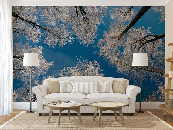 Winter forest treetop large WALL MURAL self adhesive peel and stick
