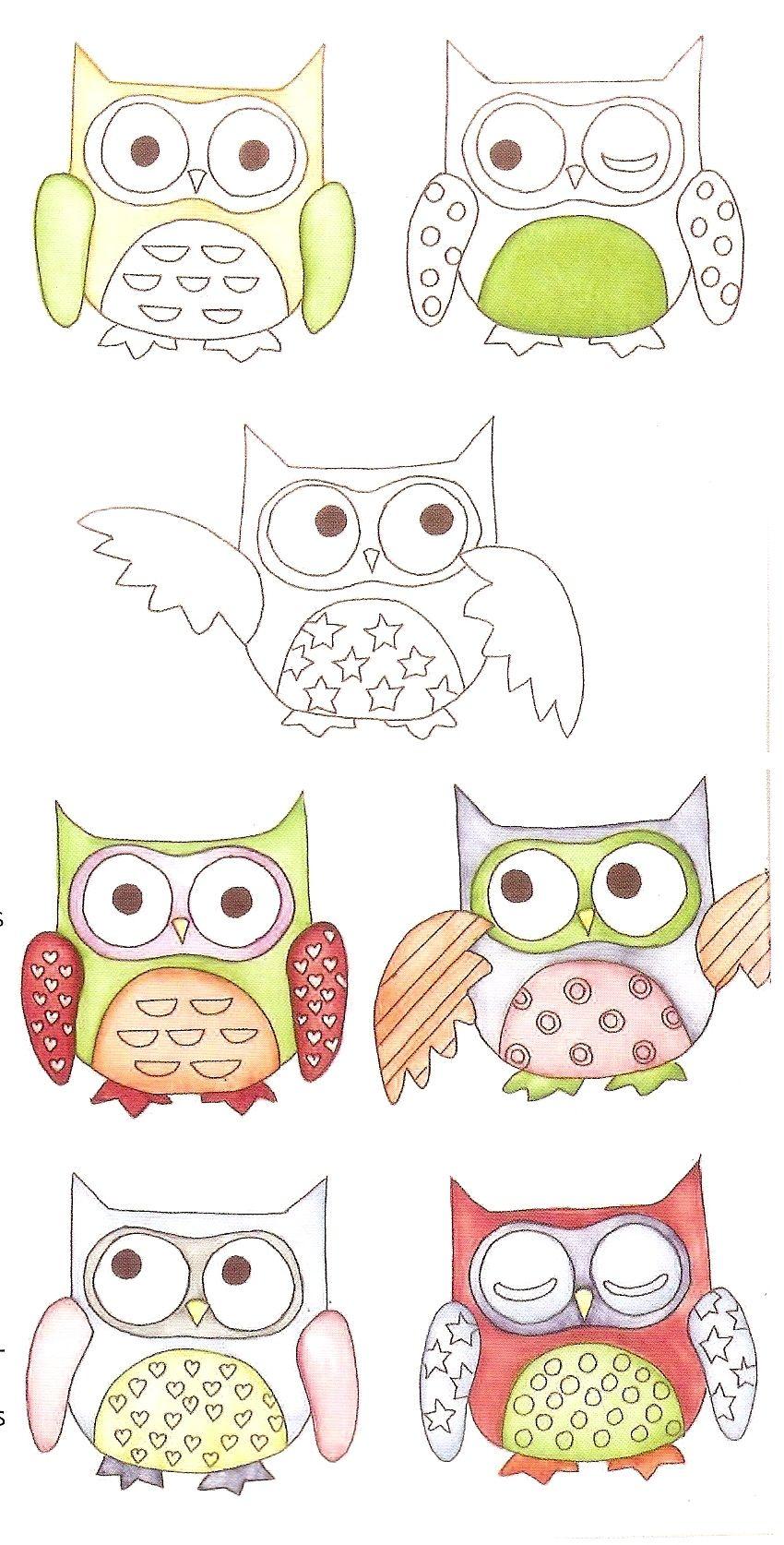 Pasos para pintar las lechuzas en porcelana. | dibujos y moldes y ...
