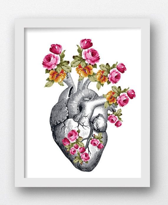 Anatomical Heart With Flowers, Floral Heart, Heart Art Print ...