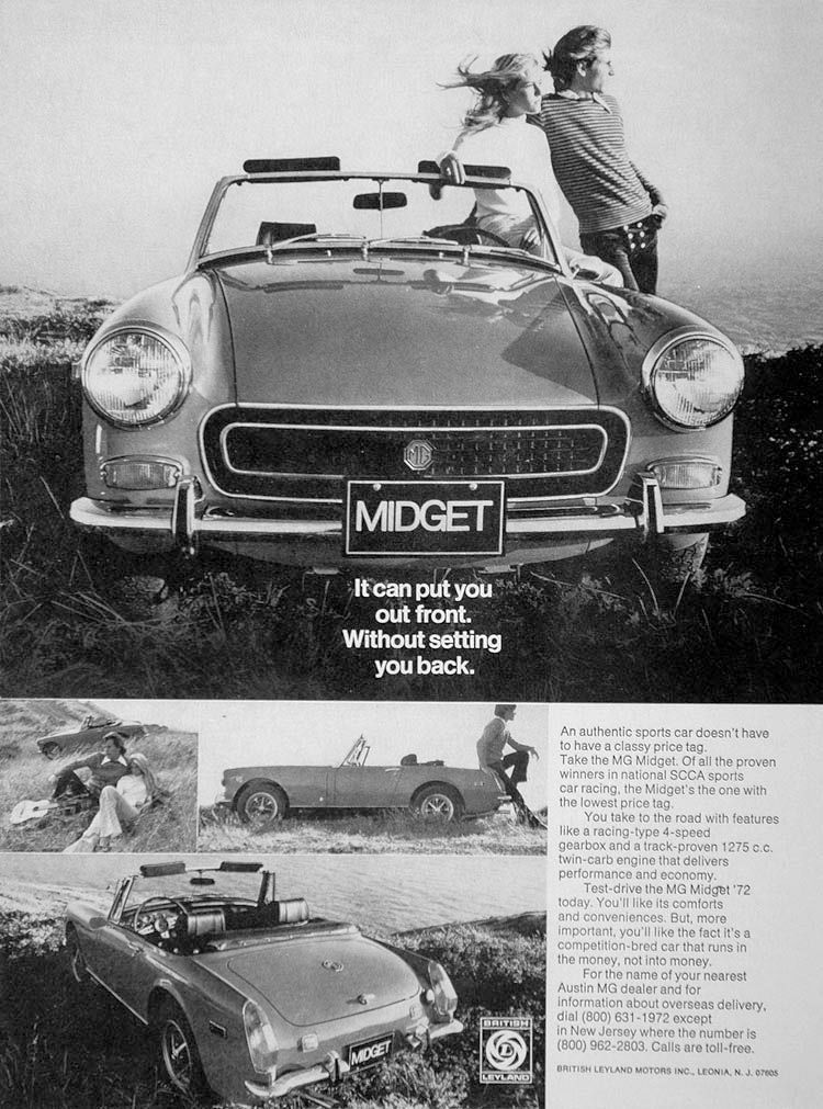 Racecar 1972 MG MIDGET Convertible Its A Lot Of Sports Car VINTAGE AD