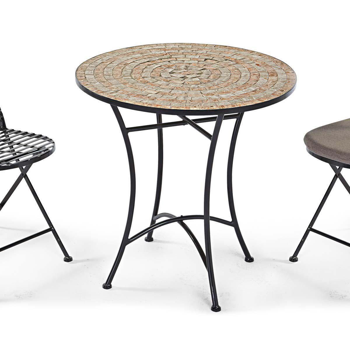 Gartentisch Kemo, mit Mosaikplatte, Metall, Steine, Höhe 72 x Ø 70 ...