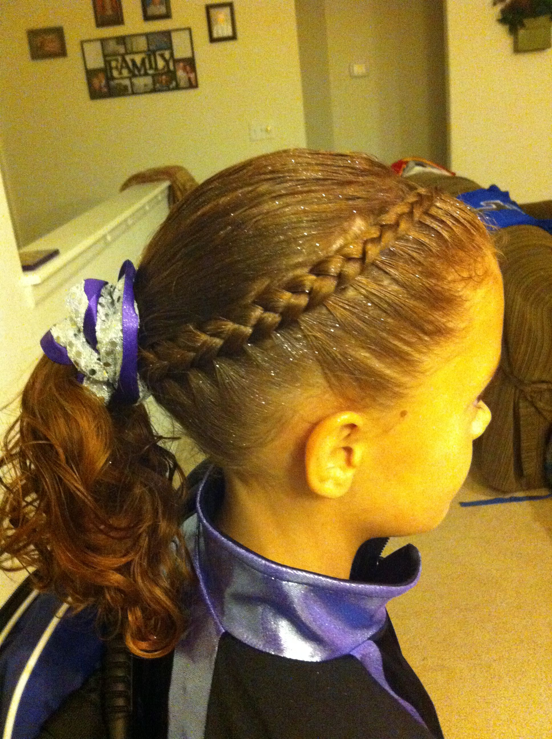 Dutch braid as a headband into a ponytail competition hairstyles