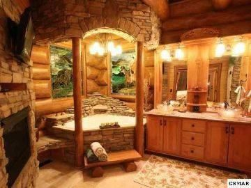 How many likes for this log bathroom | WoodworkerZ.com